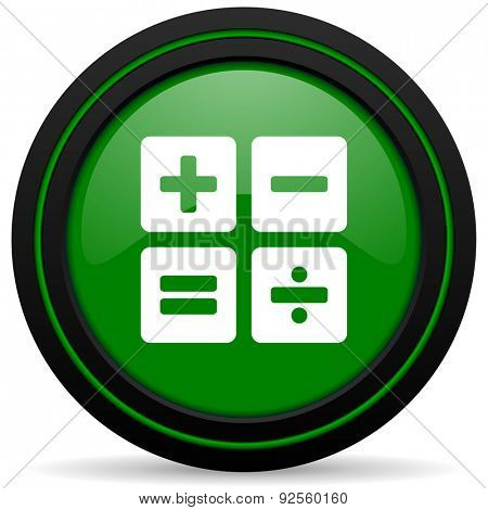 calculator green icon calc sign