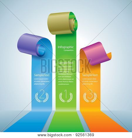 Scroll of colors paper or ribbon. Info-graphics competition diagram.