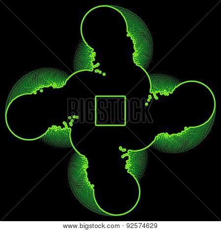 Graphical Composition With Green Spiral Elements On Black Background