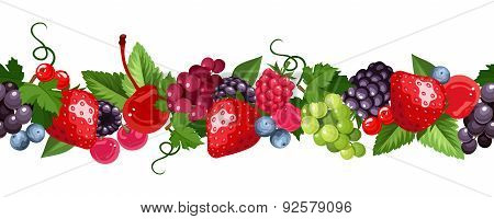 Horizontal seamless background with various berries. Vector illustration.