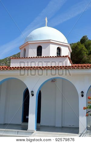 The Orthodox Church Ekklisia Agios Fanourios in Loutraki Greece. poster