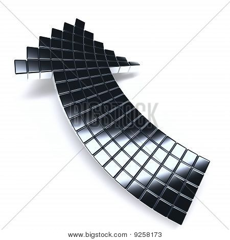 dark metallic arrow consisting of metal cubes on a white background poster