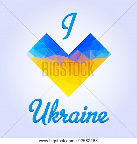 Ukranian patriotic heart emblem that colored in a national flag colores in a triangle manner with love text. Fully editable vector image. Perfect phone cases prints on t-shirts posters etc. poster