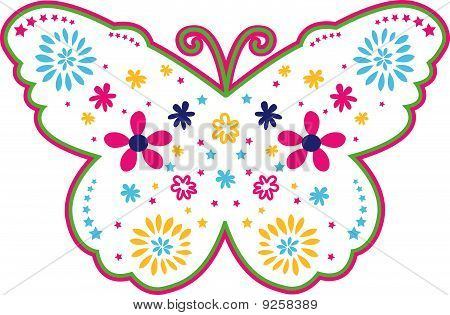butterfly flower outline design