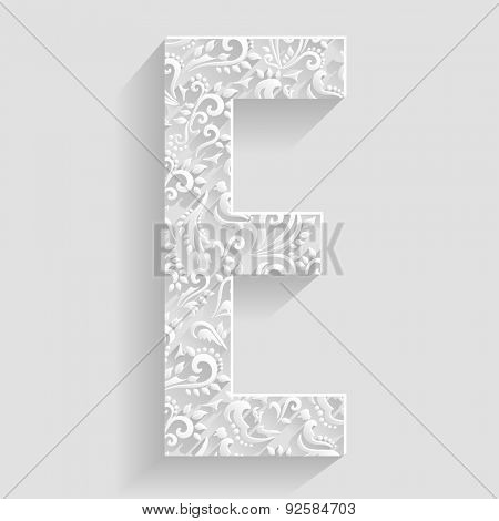 Letter E. Vector Floral Invitation cards Decorative Font