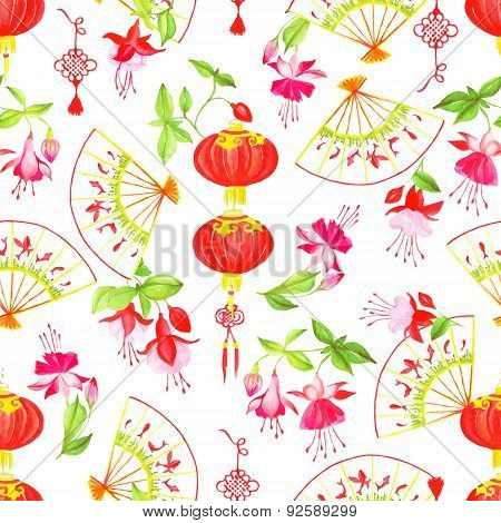 Asian Lanterns, Fuchsia And Fans Seamless Vector Pattern