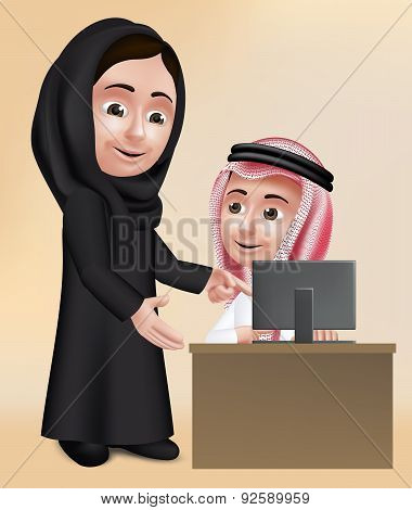 Realistic 3D Arab Woman Teacher Character Teaching