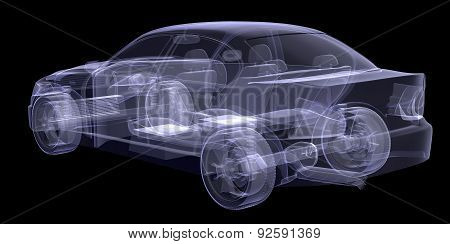 X-ray of car on black