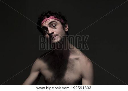 Very skinny headband wearing fighter shows skills