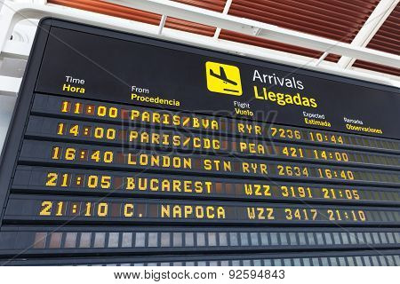 Arrivals Table At The Airport