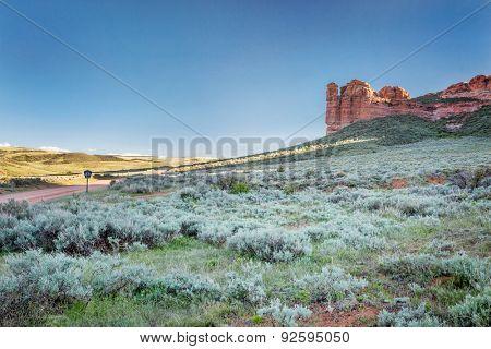 prairie, shrubland and sandstone rock formation in northern Colorado near Wyoming border - Sand Creek National Landmark