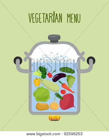 Vegetables in a saucepan. Logo for  vegetarian menu. Useful and healthy food. Boiled beets and squas