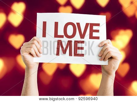 I Love Me card with heart bokeh background