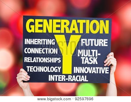Generation Y card with bokeh background