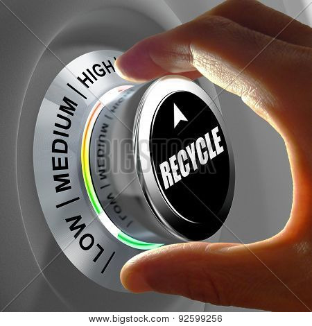 Hand rotating a button and selecting the level of recycling.