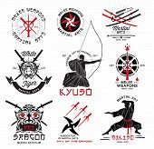 Set of martial arts, Japanese samurai weapons logo, emblems and design elements. Illustration crossed samurai swords, athletes in kimono and asian mask. poster