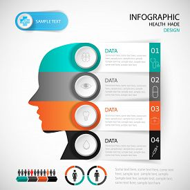 Medical Infographic Design Head Template. Graphic Or Website Layout Vector.