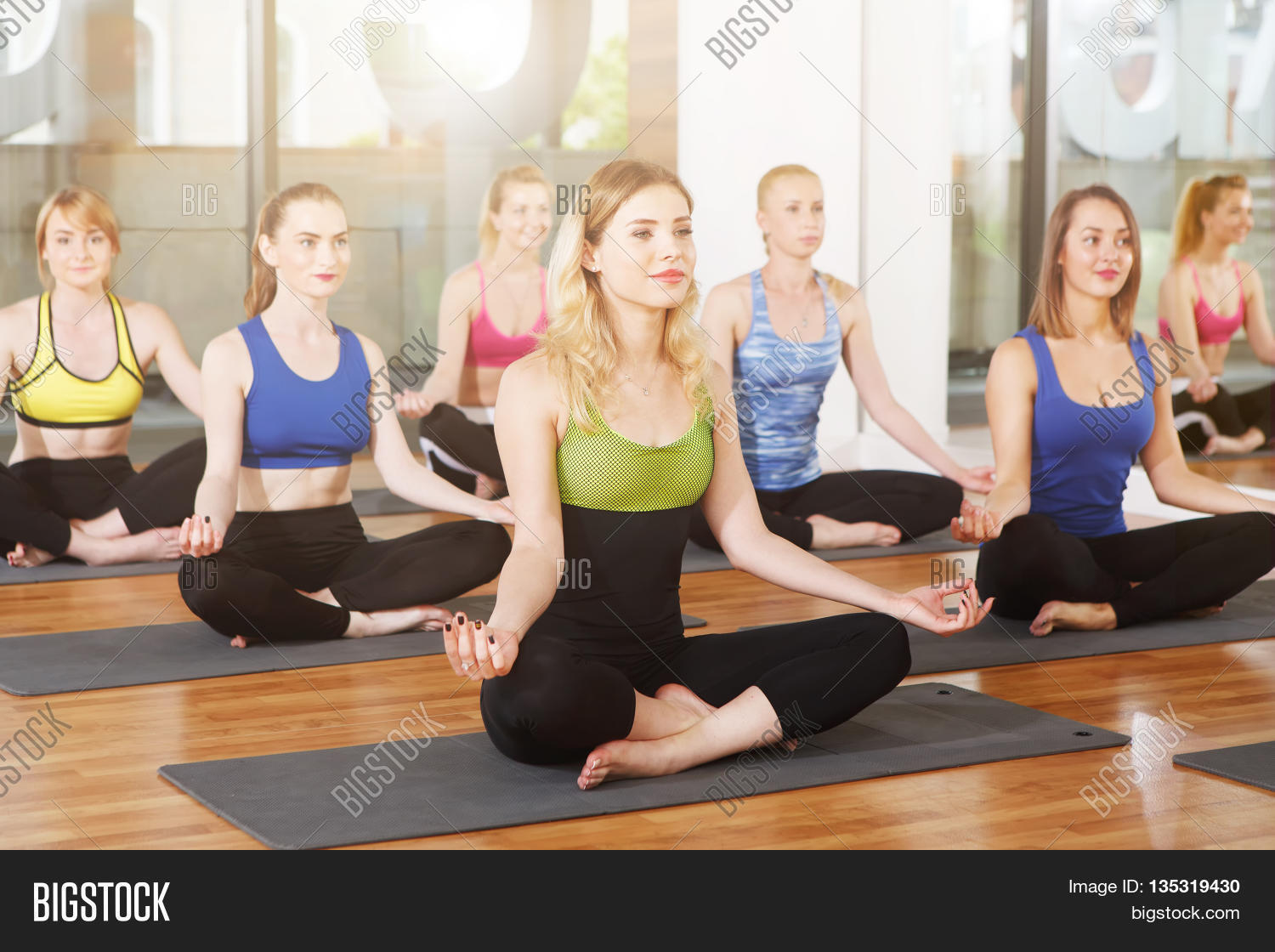 Group Of Young Women In Yoga Class People Making Exercises Girls Do