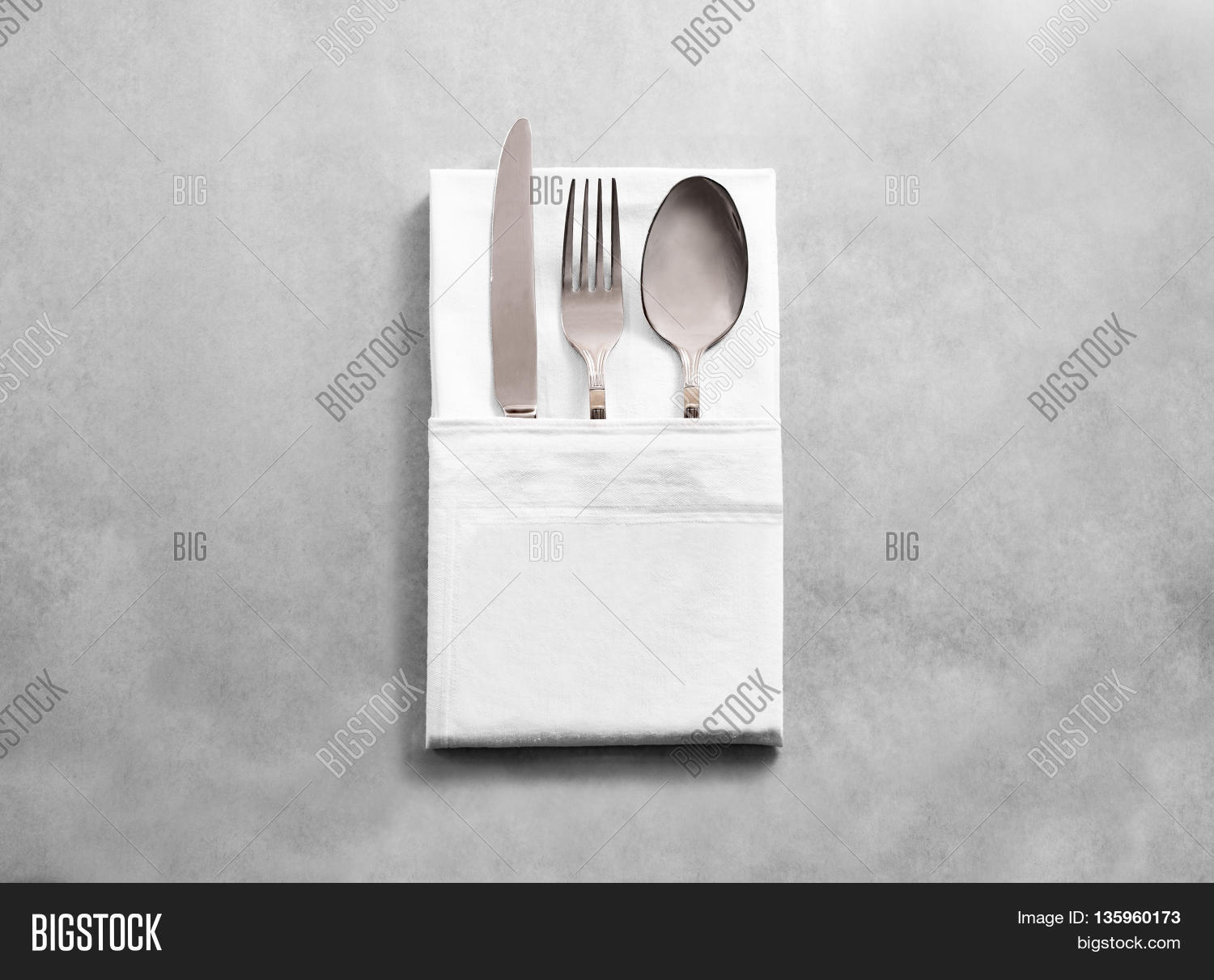 Blank white restaurant cloth napkin mockup with silver cutlery set isolated. Knife fork and & Blank White Restaurant Image \u0026 Photo (Free Trial) | Bigstock