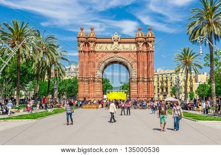 Barcelona Spain - May 3 2015: Barcelona Attractions Triumph Arch of Barcelona in a summer day in Barcelona Catalonia Spain