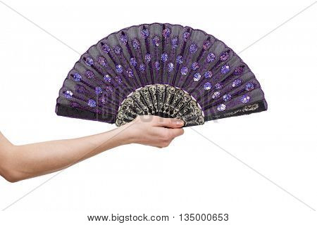 Hand holding fan isolated on white background