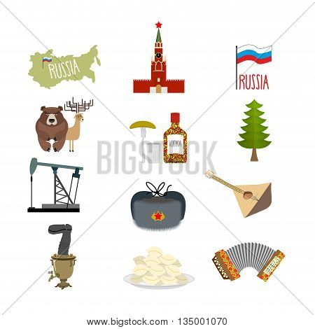 Set Symbols And Icons For Russia: Kremlin And Balalaika, Oil Rig And Vodka, With Earflaps And Samova