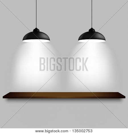 Black ceiling lamps with shelf template vector eps 10