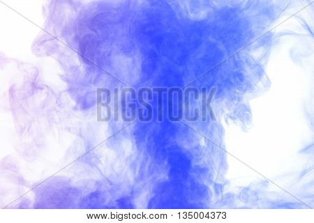 Abstract blue purple water vapor on a white background. Texture. Design elements. Abstract art. Steam the humidifier. Macro shot.