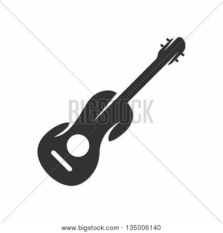 Guitar logo on white background. Guitar icon template. Flat design style. Vector illustration - stock vector