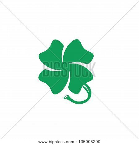 Clover logo on white background. Green clover icon. Flat design style. Vector illustration - stock vector