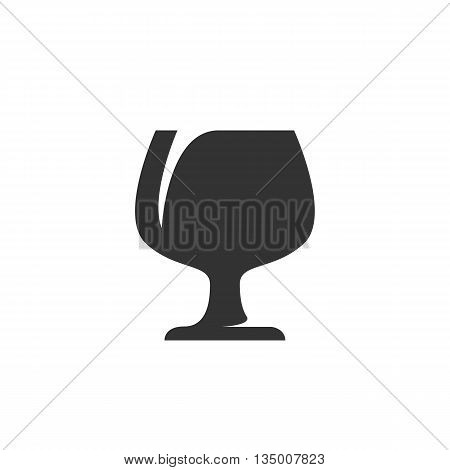 Wineglass icon isolated on white background. Flat design style - stock vector