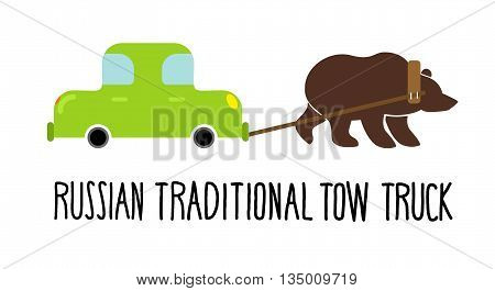 Russian traditional tow truck. Bear lucky for car. Wild Beast picks up car on parking fine