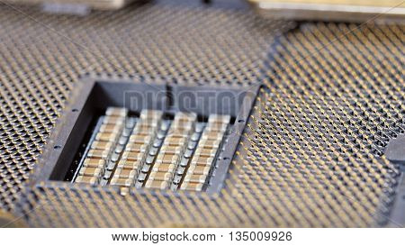 CPU socket of server mainboard, macro electronic background
