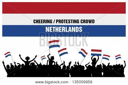 Netherlands silhouettes of cheering or protesting crowd of people with flags and banners of Netherlands. poster