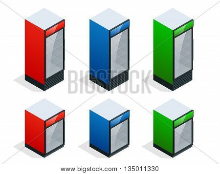Commercial refrigerator to store drinks and perishables. Flat 3d isometric illustration