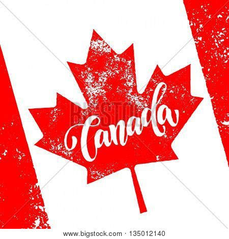 Vector greeting card for Canada Day. Illustration for 1st of July Canada Independence Day with flag and red maple leaf.