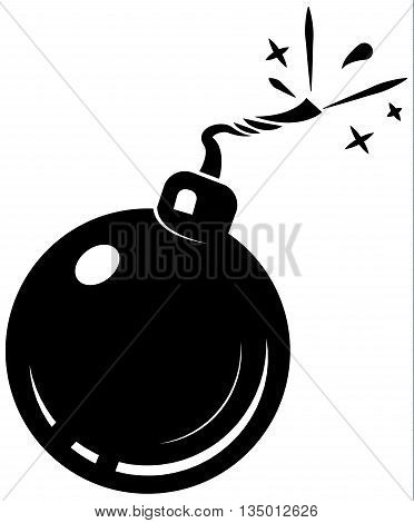 black bomb icon, with burning wick, isolated on white