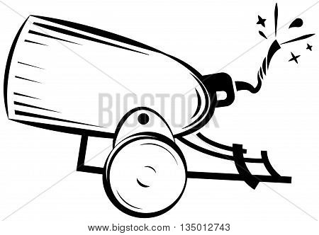 retro cannon, vintage gun, weapon war icon vector