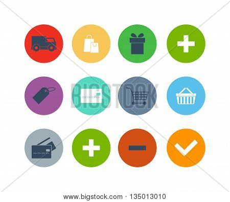 Modern flat shopping web icons vector set in stylish colors of shopping objects and items. Isolated on white background shopping web icons. Shopping web icons store basket cart money card discount.
