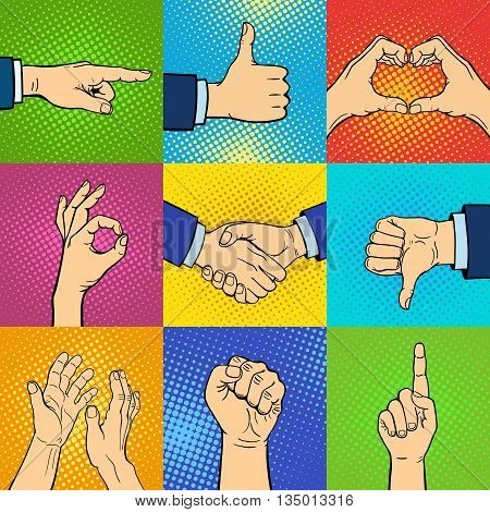Hand pop art collection vector illustration. Pop art background style comic arm set. Agree gesture positive thumb body part hands pop art background set. Man gesture pop art element.