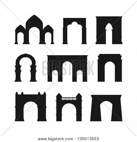 Arch vector set black silhouette and architecture ancient frame arch. Column entrance design arch and arch classical construction. History antique culture pillar exterior facade arch