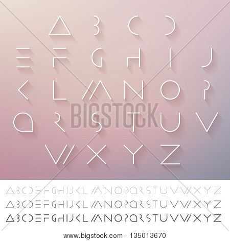 Thin minimal futuristic font. Alphabet set. Elegant light font. Hipster font. Linear geometric latin letters. Light, medium and hard typefaces.