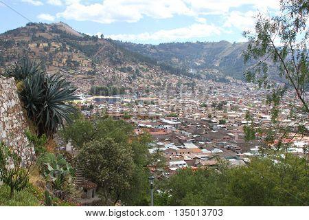 Vista of Cajamarca City looking North from the Mirador Santa Apolonia in Cajamarca Peru on June 18 2016 poster