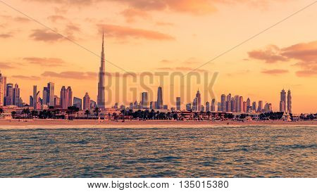 Dubai, United Arab Emirates: Downtown in the beautiful sunset