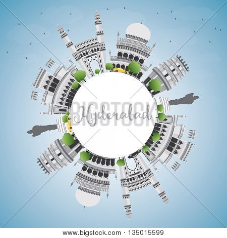 Hyderabad Skyline with Gray Landmarks, Blue Sky and Copy Space. Vector Illustration. Business Travel and Tourism Concept with Historic Buildings. Image for Presentation Banner Placard and Web Site.