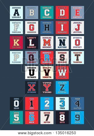 Letters and numbers for t-shirt prints design. Alphabet font with different words. Stamp and printing badge applique label for t-shirts jeans casual wear. Vector illustration