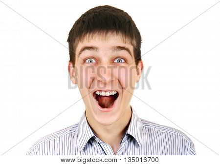 Surprised Teenager Isolated on the White Background