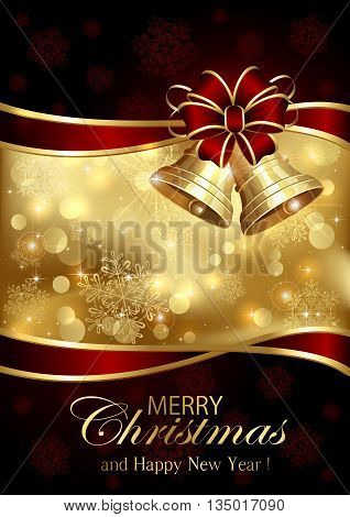 Golden background with Christmas bells, red bow and snowflakes, Shiny Christmas decorations, illustration.