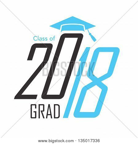 Black and Blue Class of 2018 Grad Vector Graphic with Graduation Cap and Tassel