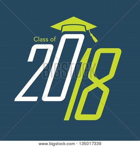 Green and Blue Class of 2018 Vector Graphic with Graduation Cap and Tassel